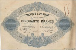 50 Francs type 1868 Indices Noirs FRANCE  1883 F.A38.13x VF-