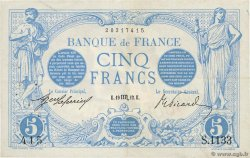 5 Francs BLEU FRANCE  1912 F.02.08 VF+