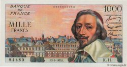 1000 Francs RICHELIEU  FRANCE  1953 F.42.02 SPL