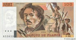 100 Francs DELACROIX  UNIFACE  FRANCE  1984 F.69U.08 SUP+