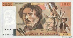 100 Francs DELACROIX  UNIFACE FRANCE  1984 F.69U.08 UNC