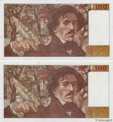 100 Francs DELACROIX 442-1 & 442-2 Faux FRANCE  1994 F.69ter.01cx AU
