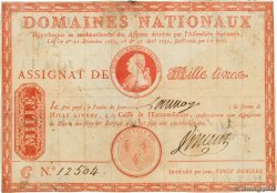 1000 Livres sans coupons FRANCE  1790 Ass.03b TB