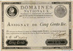 500 Livres Faux FRANCE  1790 Ass.10x TTB+