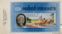 1000 Francs BON DE SOLIDARITÉ Annulé FRANCE régionalisme et divers  1941 KL.12As SUP