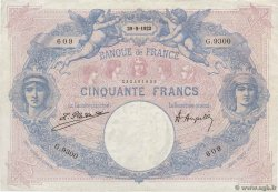 50 Francs BLEU ET ROSE FRANCE  1922 F.14.35 pr.TTB