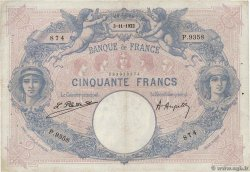 50 Francs BLEU ET ROSE FRANCE  1922 F.14.35 TB