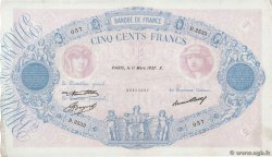 500 Francs BLEU ET ROSE  FRANCE  1937 F.30.38 pr.SUP