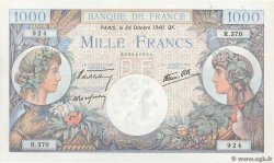 1000 Francs COMMERCE ET INDUSTRIE FRANCE  1940 F.39.01 pr.SPL