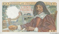 100 Francs DESCARTES  FRANCE  1943 F.27.03 SPL