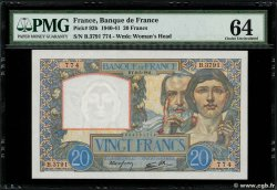 20 Francs TRAVAIL ET SCIENCE FRANCE  1941 F.12.14 UNC-