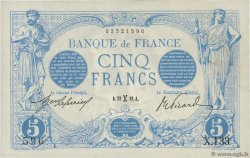 5 Francs BLEU FRANCE  1912 F.02.02 XF-