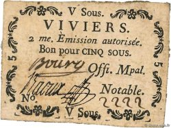 5 Sous  FRANCE regionalism and miscellaneous Viviers 1792 Kc.07.200 VF+