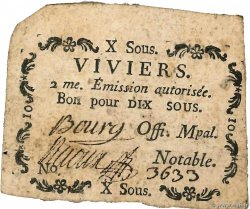 10 Sous  FRANCE regionalism and miscellaneous Viviers 1792 Kc.07.201