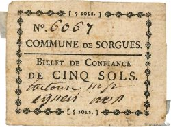 5 Sols  FRANCE regionalism and miscellaneous Sorgues 1792 Kc.13.125a