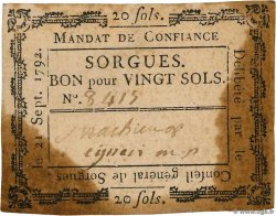 20 Sols  FRANCE regionalism and miscellaneous Sorgues 1792 Kc.13.129(var)