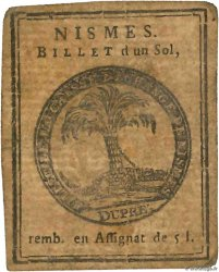 1 Sol FRANCE regionalism and miscellaneous Nimes 1791 Kc.30.065 F