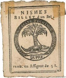 1 Sol  FRANCE regionalism and miscellaneous Nimes 1791 Kc.30.065
