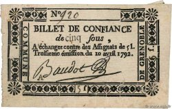 5 Sous  FRANCE regionalism and miscellaneous Grenoble 1792 Kc.38.023d XF