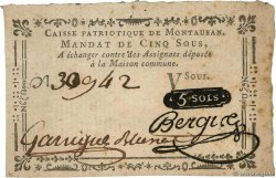 5 Sous FRANCE regionalism and miscellaneous Montauban 1792 Kc.46.096s VF