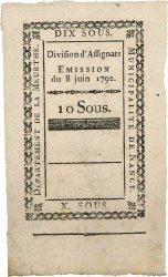 10 Sous Non émis FRANCE regionalism and miscellaneous Nancy 1792 Kc.54.054d