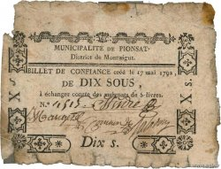 10 Sous FRANCE regionalism and miscellaneous Pionsat 1792 Kc.63.110 G