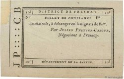 10 Sols Non émis FRANCE regionalism and miscellaneous Fresnay 1792 Kc.72.050 VF+