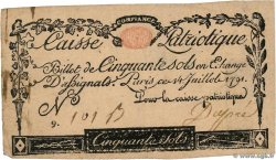 50 Sols  FRANCE regionalism and miscellaneous Paris 1791 Kc.75.064