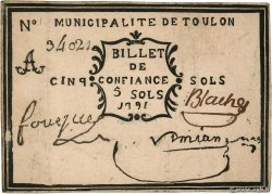 5 Sols Faux FRANCE regionalism and miscellaneous Toulon 1792 Kc.83.006 VF+