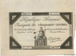 50 Livres  FRANCE  1792 Ass.39a XF