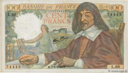 100 Francs DESCARTES  FRANCE  1943 F.27.03 VF