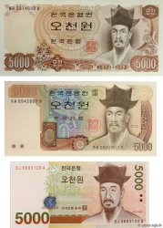 5000 Won Lot SOUTH KOREA   1977 P.45, P.48 et P.55 UNC
