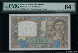 20 Francs TRAVAIL ET SCIENCE FRANCE  1939 F.12.01 XF+