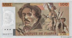 100 Francs DELACROIX UNIFACE  FRANCE  1995 F.69bisU.05 SUP