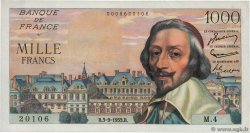 1000 Francs RICHELIEU FRANCE  1953 F.42.02 pr.SUP