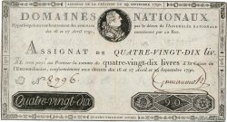 90 Livres FRANCE  1790 Ass.08a VF+