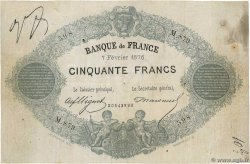 50 Francs type 1868 Indices Noirs Faux FRANCE  1876 F.A38.10x TB