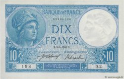 10 Francs MINERVE  FRANCE  1916 F.06.01 SPL+