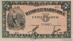 5 Francs  MARTINIQUE  1942 P.16b pr.SUP