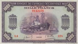 1000 Francs  FRENCH WEST AFRICA  1942 P.32a