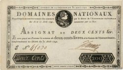 200 Livres Faux FRANCE  1792 Ass.33a XF