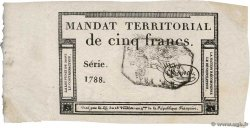 5 Francs Monval cachet noir  FRANCE  1796 Ass.63b AU