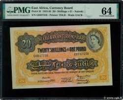 20 Shillings - 1 Pound  EAST AFRICA (BRITISH)  1956 P.35 UNC-