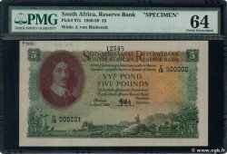 5 Pounds Spécimen SUDAFRICA  1952 P.097as