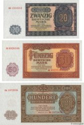 20, 50 et 100 Deutsche Mark Lot GERMAN DEMOCRATIC REPUBLIC  1955 P.19a, P.20a et P.21a