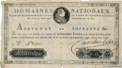 60 Livres  FRANCE  1791 Ass.14a B+