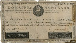300 Livres Faux FRANCE  1791 Ass.18x