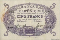 5 Francs Cabasson violet  MARTINIQUE  1945 P.06 TTB