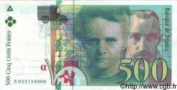 500 Francs PIERRE ET MARIE CURIE sans le symbole du Radium FRANCE  1994 F.76Ter.01 SUP+