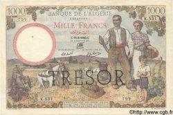 1000 Francs ALGÉRIE SURCHARGÉ FRANCE  1943 VF.10.02 TTB+ à SUP